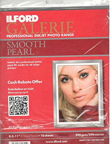 Ilford Galerie Smooth Pearl Professional Inkjet Paper 8.5 X 11 (10 Sheets) (Pearl Paper Inkjet Smooth)