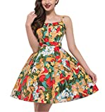 Spaghetti Strap Floral Printed Work Party Dresses Casual Swing Pinup Dress 5 M