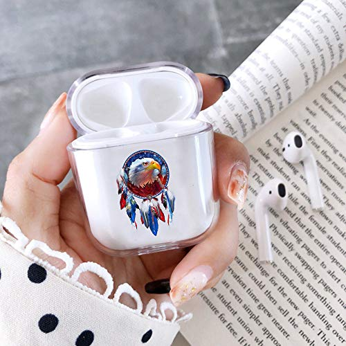 Clear Hard Plastic Case Full Protective Cover Skin Compatible with AirPods 2 & 1 Bald Eagle Dream Catcher