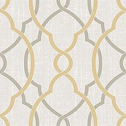 NuWallpaper NU1695 Sausalito Taupe/Yellow Peel & Stick Wallpaper