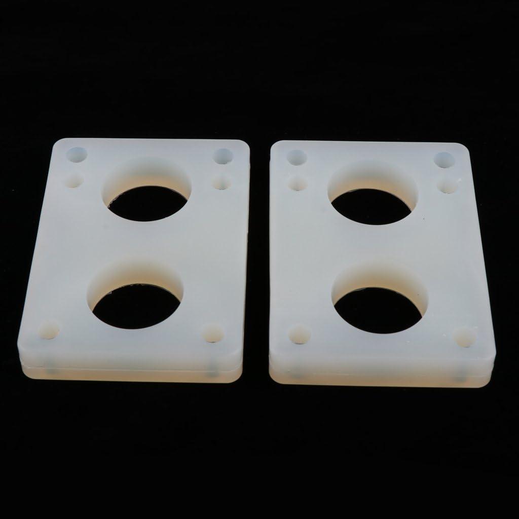 perfeclan 2pcs Caoutchouc Longboard Skateboard Riser Pads Rembourrage Pads Choc 3mm 6mm 11mm Blanc