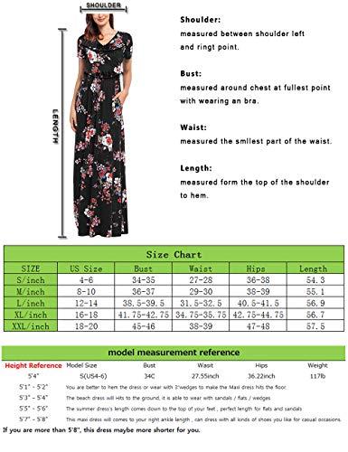 Comila Short Sleeve Maxi Dresses for Women, Summer V Neck Dress Pockets Vintage Floral Maxi Casual Dress with Pockets Elegant Work Office Long Dress Black S (US 4-6) by Comila (Image #6)