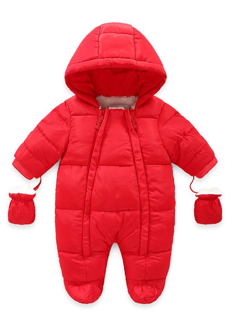 Infant Cute Animal Pattern Onesie Snowsuit Soft Warm Fleece Lining Romper with Hood Zipper Closure for Winter 12-18 Months Infants Red by Ohrwurm