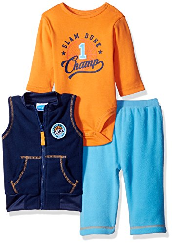 BON BEBE Baby Boys' 3 Piece Microfleece Vest and Pant Set with Side Snap Bodysuit, Navy Slam Dunk Champ, 3-6 Months