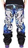 Pizoff Men's Hip Hop Back Graffiti Print Unwashed Baggy Jeans Denim j9001-5-38-Black