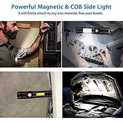 Rechargeable Flashlight, Spriak Magnetic Flashlights with Clip (Included Battery), Side Work Light, Bright, Zoomable Pocket EDC Flashlight for Camping, Hiking, Home Power Outage