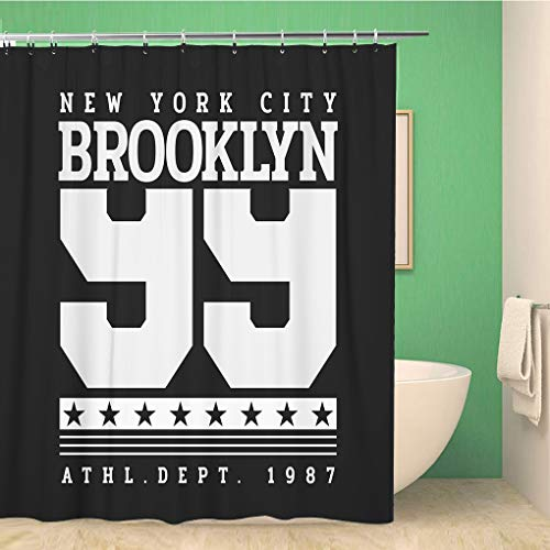 (Awowee Bathroom Shower Curtain Varsity of New York City Brooklyn Number Sport Graphics 72x72 inches Waterproof Bath Curtain Set with Hooks)