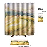 vanfan bath sets Polyester rugs shower curtain country landscape typical tuscan hills i shower curtains sets bathroom 48 x 72 inches&23.6 x 15.7 (Free 1 towel 12 hooks)