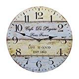 14 Inch Vintage Rustic Country Tuscan Style Silent Wooden Wall Clock Home Decor – Sea Anchor B