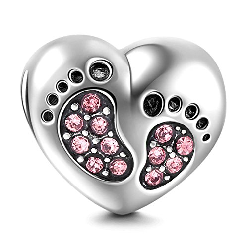 SOUKISS Footprint Charm with Heart 925 Sterling Silver Family Love Bead Baby First Steps Charm for Charm Bracelet (Pink)