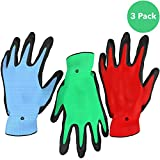 Vremi Heavy Duty Gardening Gloves for Men and Women - 3 Pack Medium Size Bamboo Nitrile Coated Thorn Proof Indoor and Outdoor Garden Gloves for Vegetable Roses or Flower Gardens - Blue Green and Red