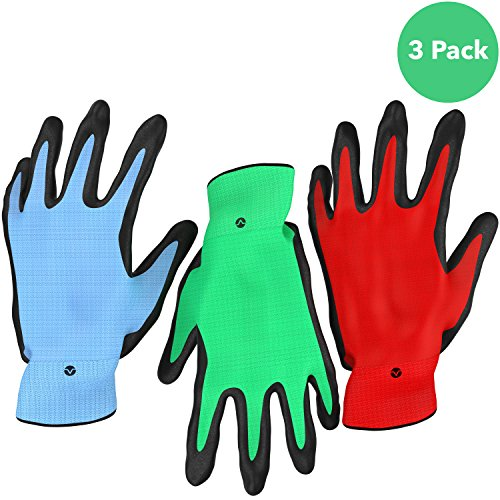 Vremi Heavy Duty Gardening Gloves for Men and Women - 3 Pack Large Size Bamboo Nitrile Coated Thorn Proof Indoor and Outdoor Garden Gloves for Vegetable Roses or Flower Gardens - Blue Green and Red