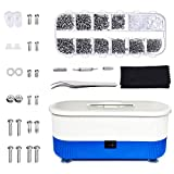 Ultrasonic Cleaner – Mini Cleaning Machine with 1100Pcs Eyeglasses Screws and Nose Nads Tweezer Micro Screwdriver Eyeglass Repair Kit for Glasses,Spectacles,Jewelry,Watch