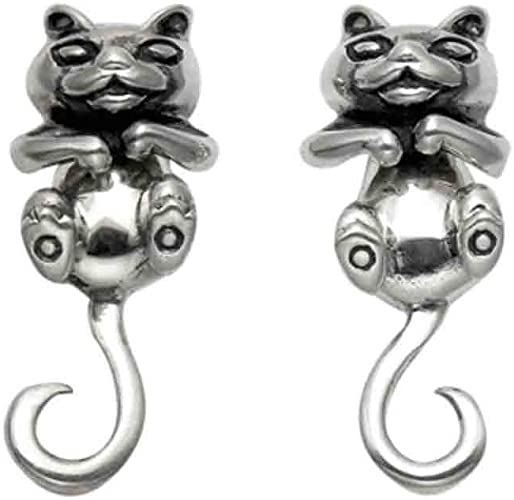 Sterling Silver Cat with Movable Head Stud Earrings