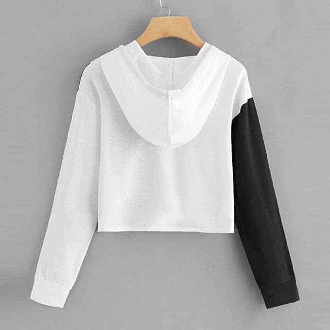 Amazon.com: Sunhusing Casual Womens Fashion Black & White Colorblock Hooded Stitching Sweater Top: Clothing