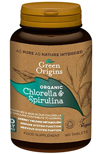 Green Origins Organic Chlorella and Spirulina Tablets 500mg, Pack of 180