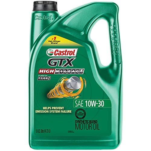 Castrol 03110 GTX High Mileage 10W-30 Synthetic Blend Motor Oil, 5 Quart