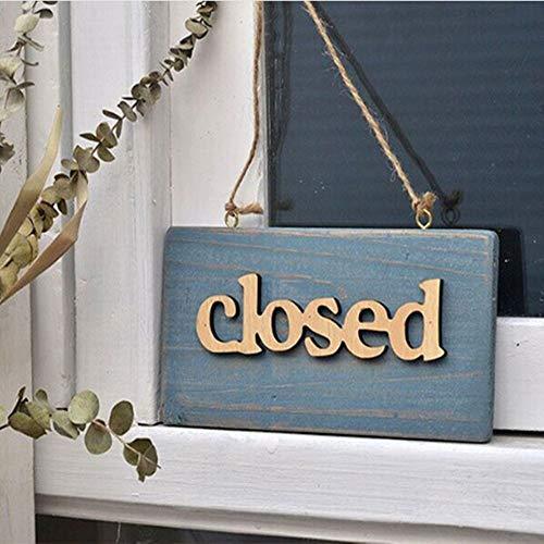 HeroStore Decorative Vintage Wooden Board Plank Welcome Close Open Sign Plaque Cafe Shop Window Door Hanging DIY Decoration]()