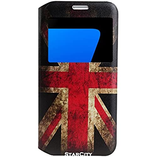 StarCity Premium Slim Flip Window View Cover Folio Case with Magnetic Closure for Samsung Galaxy S7 Edge (UK Flag) Sales