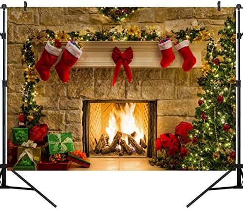 OUYIDA 10X8FT Christmas Themed Fireplace Vinyl Photography Backdrop Photo Background Studio Prop CEM06C