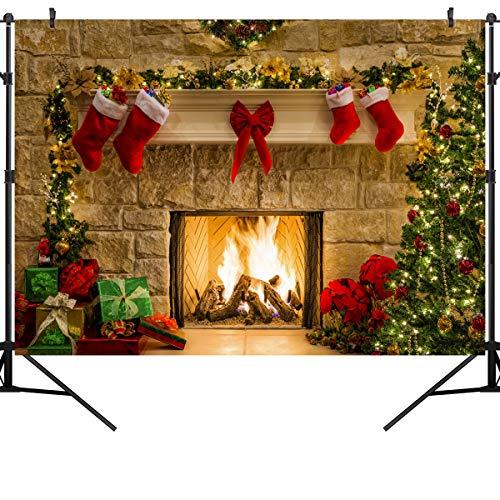 OUYIDA 9X6FT Christmas Themed Fireplace Vinyl Photography Backdrop Photo Background Studio Prop CEM06B -