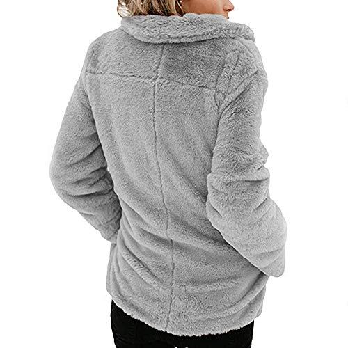 Camicetta Front Jacket Lunga Manica Open Grigio Casual Da Elecenty Coat Capispalla Donna Ya8S4wq