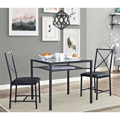 3 Piece Dining Set, Includes 1 Square Table With Tempered Glass Top And 2 X-Back Chairs With Leather-Like Cushions, Made Of Sturdy Metal, Presented In Black Finish