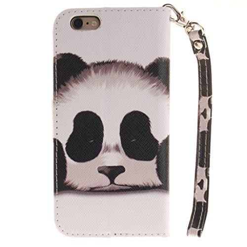 Niedlichen Panda Drucken Design schutzhülle für Apple iPhone 6 6S 4.7'' (4,7''),PU Leder Wallet Handytasche Flip Case Cover Etui Schutz Tasche mit Integrierten Card Kartensteckplätzen und Ständer Funk