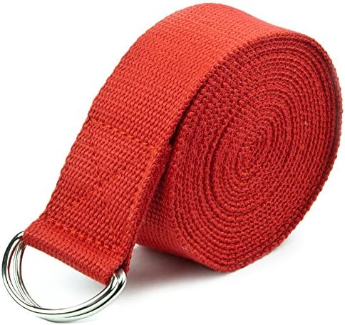10-Foot Extra-Long Cotton Yoga Strap with Metal D-Ring by Crown Sporting Goods (Red)