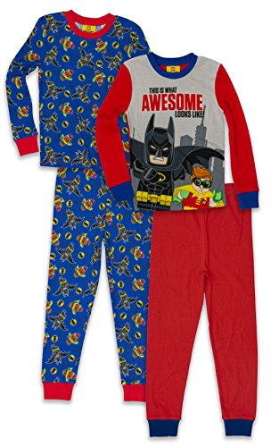 (LEGO Batman Big Boys' Pajama, 4 Piece, 2 Sets Sleeve, Long Pant, Blue Red, 8)