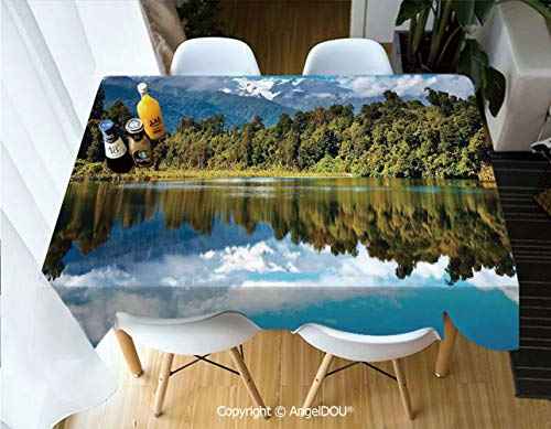 (AngelDOU Decorative Rectangle Printed Table Cloth Mirror Reflection on Lake by The Forest with Cloudy Sky in Southern Alps for Dinner Kitchen Waterproof Stain Resistant,W55xL82(inch))