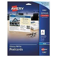 Postales brillantes Avery 8383 de calidad fotográfica para impresoras de inyección de tinta, 4 1/4 x 5 1/2, blanco (paquete de 100)