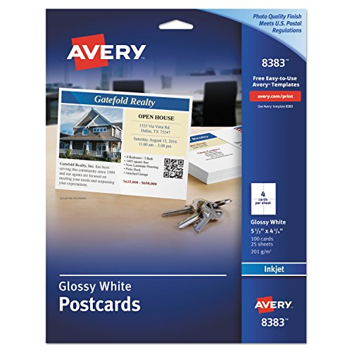 Glossy Photo Quality Inkjet - Avery 8383 Photo-Quality Glossy Postcards for Inkjet Printers, 4 1/4 x 5 1/2, White (Pack of 100)