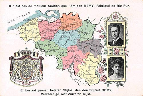 Belgium Map View King Albert I Royalty Remy Rice Starch Ad Postcard JE228471