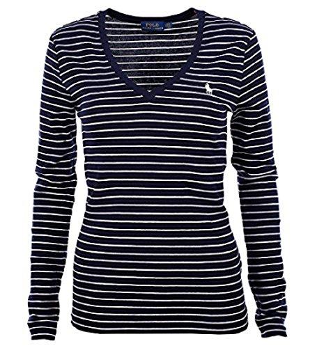RALPH LAUREN Polo Women's Long Sleeve Striped V-Neck T-Shirt (Large, Navy/White - Buy Lauren Polo Ralph