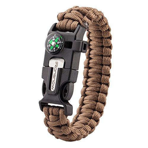 iRonsnow Emergency Paracord Bracelets Survival Gear, Flint Fire Starter, Whistle,
