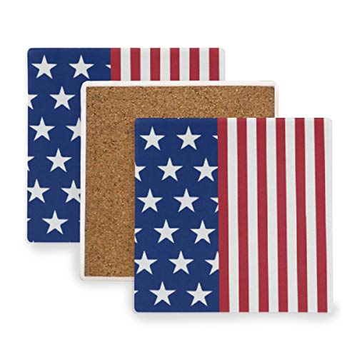 Novelty US American Flag Ceramic Coasters for Drinks,Square 4 Piece Coaster Set
