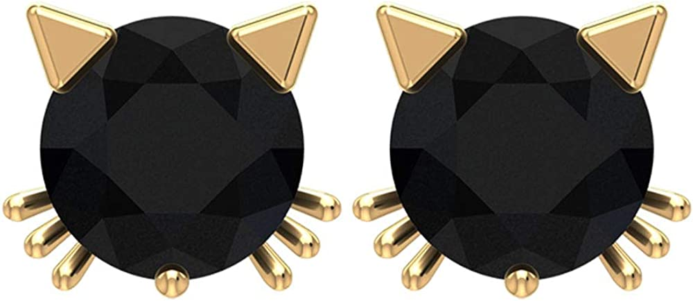 Solitaire 1/2 CT Certified Black Onyx Statement Stud Earring, Solid 14k Gold Engraved Small Cat Face Earring, Dainty Tiny Comfortable Girl Earrings, Screw Back