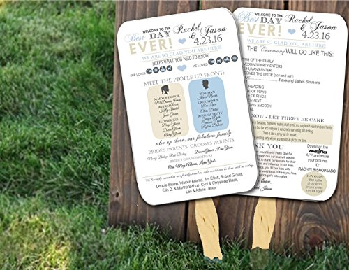 Personalized Wedding program fans Wedding Programs Wedding Fans ANY COLOR -