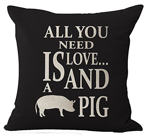 - Nordic Style Wildlife Animal Lovers Sweet Warm Saying All You Need Is Love And Pig Cotton Linen Decorative Throw Pillow Case Cushion Cover Square 18