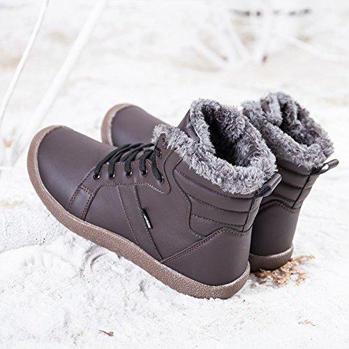 Neve Pelle Stivaletti Sneaker Impermeabile Pelliccia High Caldo Stringate Stivali Uomo Marrone Donna Invernali Top Caviglia Scarpe Boots qEfwAIt