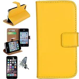 Mobilefashion Funda de PU Cuero Case para Apple iPhone 5 5S 5G (Amarillo CS) Con Soporte Plegable y Ranura para tarjeta + 1x protector de pantalla gratis