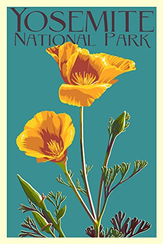 Yosemite National Park, California - Poppy - Letterpress (12x18 Art Print, Wall Decor Travel Poster)