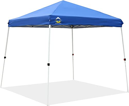 CROWN SHADES Patented 10ft x 10ft Base and 8ft x 8ft Top Slant Leg Outdoor Pop up Portable Shade Instant Folding Canopy