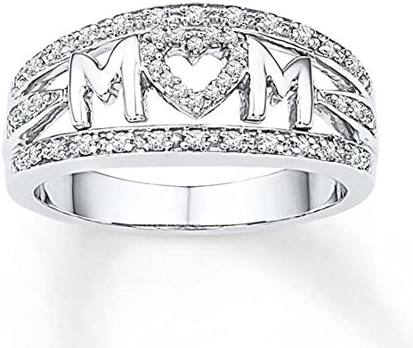 Love Mum Diamond Ring Jewelry Best Gift For Mother Party Wedding