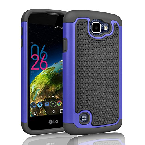 LG K4 Case, LG Optimus Zone 3 Case, LG Spree Case, Tinysaturn(TM) [Ysaturn Series] Hybrid Shock Absorbing Hard Shell Rubber Against Scratches Protective Cover Case For LG Rebel LTE [Blue / Black]