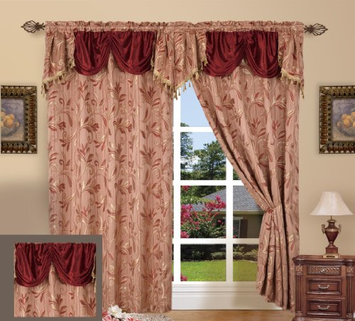 Elegance LinenLuxury Design Jacquard Curtain Panel Set with Attached Valance 55