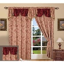 "Elegant Comfort Jacquard Curtain Panel Set with Attached Valance 55"" X 84 "" (Set Of 2), Burgundy"