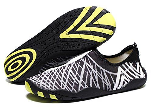 RENZER Water Shoes Lightweight Swim Skin Aqua Socks Shoes Slip-on for Beach Web-gray