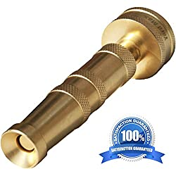 Heavy Duty Solid Brass Garden Hose Twist Nozzle, Proven Classic Design, Adjustable Power Sprayer that's Built to Last, Best For: Car Wash,Watering Flowers,Lawn, Organic Gardens, Expandable Hose
